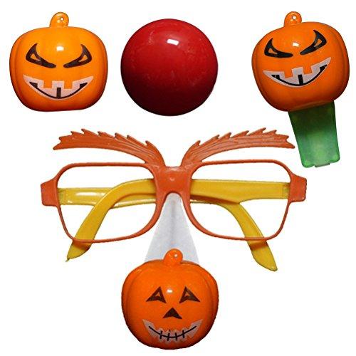 WMING Home 4 Stücke Halloween Kürbis Requisiten Set LED Nase Gläser Pfeife Set Neuheit Spielzeug Party Favors (Zufällige Farbe Pfeife und Gläser)