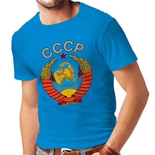 lepni.me Männer T-Shirt СССР UDSSR Sowjetunion russische Flagge und Hymne (Medium Blau Mehrfarben)