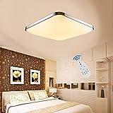 Etime LED Deckenleuchte Dimmbar Deckenlampe 24W Modern Wohnzimmer Lampe Schlafzimmer Küche Panel Leuchte 2700-6500K mit Fernbedienung Silber (45x45cm 24W Dimmbar)