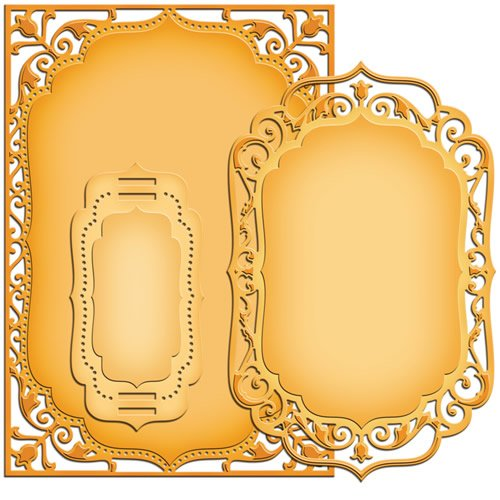 Spellbinders - Stampi serie Nestabilities per realizzare etichette e biglietti dal design elegante, dimensioni: 5 x 7 cm