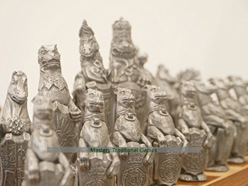 Berkeley Royal Beasts Chess Steel and Copper finish, no board