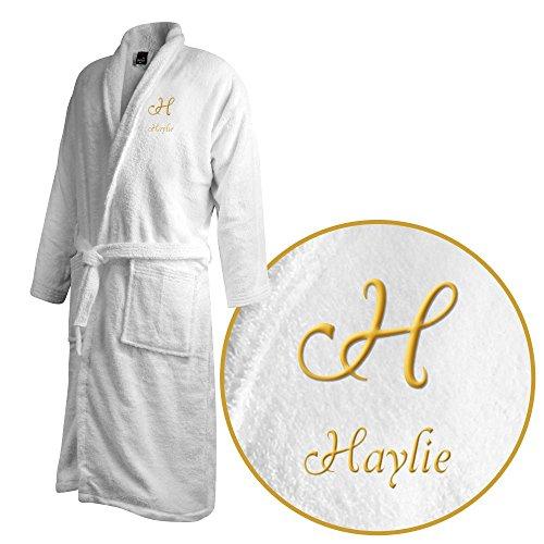 Bademantel mit Namen Haylie bestickt - Initialien und Name als Monogramm-Stick - Größe wählen White