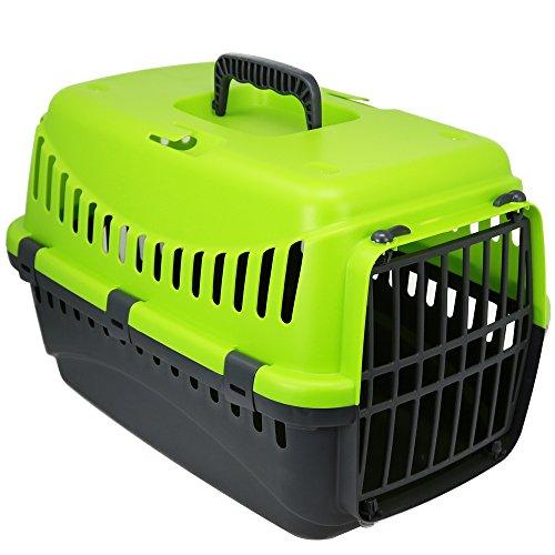 COM-FOUR Transportbox für Haustiere, Tragebox in grün für Katzen, kleine Hunde und Kleintiere, 32 x 46 x 31 cm (01 Stück - grün)