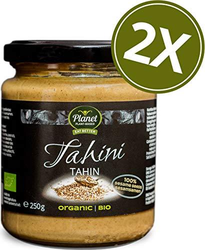 Bio-sesam-butter (Planet Plant-Based Bio Tahin 2er Pack (2 x 250g) - 100% Geröstete Ganze Sesamsaaten Als Sesampaste - Tahini Sesammus Ohne Zusatzstoffe, Vegan, Glutenfrei, Natürlich Und Wunderbar Cremig)