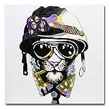 fokenzary pintada a mano pintura fumar perro con casco y gafas de sol sobre lienzo decoración de la pared enmarcado y listo para colgar, 24x24in
