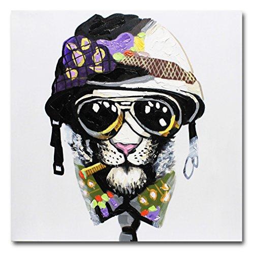 Fokenzary, dipinto fatto a mano che raffigura cane che fuma con casco e occhiali da sole, dipinto su tela, decorazione da parete, incorniciato pronto da appendere, Tela, 24x24