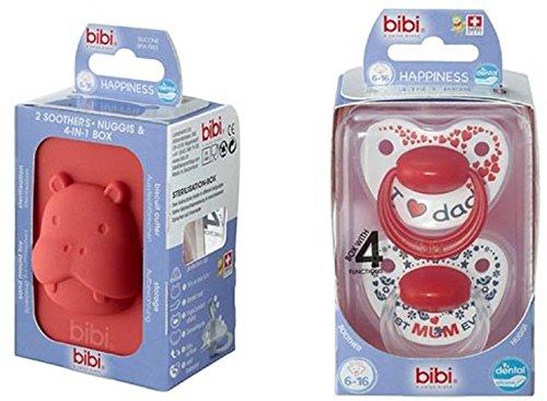 bibi Happiness Dental Premium Duo mit 4 in 1 Box (6-16 Monate) Geschenkeset Mama Papa Mum Dad