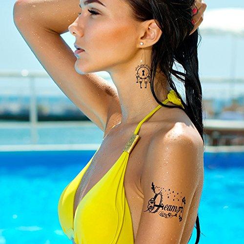Tatouages Éphémères Bling Art Planche Rêves Noir de 8 Tatouages pour Femmes RU