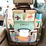 #7: XIQI Backseat Car Organizer,Folding Mummy Shoulder Bag,Kids Toy Storage,Back Seat Protector,Multi-pocket Travel Storage Bag Auto Car,Kick Mats For Baby Travel Accessories,Blue