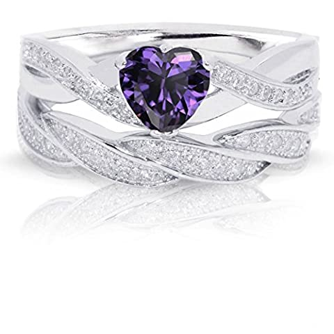 Pretty Jewellery Heart Cut Amethyst & White Sim Diamond Engagement Wedding Ring Set in 14k White gold Fn 925 Silver