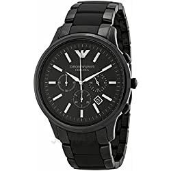 Armani Armani cerámicaa Chronograph Black Dial Black Ceramic Mens Watch AR1451