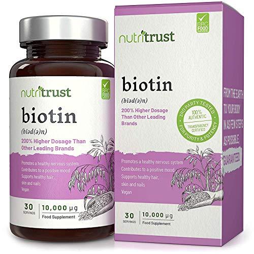 Cápsulas Biotina 10,000μg Nutritrust® - Fórmula Potencia Vegana 100% - Pelo, piel y uñas sanos – Funcionamiento normal del sistema nervioso y el ánimo – Vitamina B7 soluble agua –Fácil de tragar