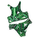 Summer Mae Damen Triangel-Neckholder-bikini Bikini-set Gehäkelt Bademode ,Grün ,M