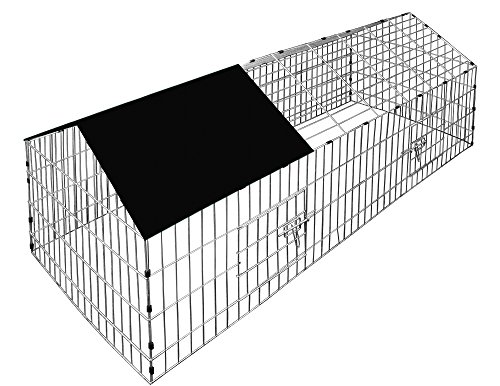Deuba Kaninchenstall Hasenkäfig Hasengehege Hasenstall Käfig Freilauf Gehege Metall mit schwarzem Sonnenschutz