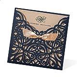 Lvcky 8 Stück Elegante Hochzeitskarten Einladungen Hohle Blume Get Married Karte mit Schleife Umschläge Papier Basteln Geschenkset