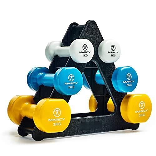 MARCY Tone DB2126 Kurzhantel Vinyl Set mit Ständer 12kg, Hantel, Hantelständer, Weiß/Blau/Gelb, Kurzhanteln (Gewichtheben Gewicht Zu Verlieren)