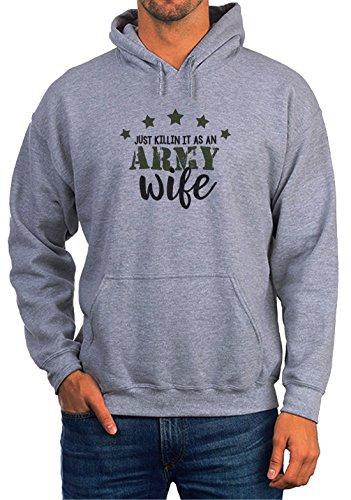 BlackMeow Just Killin It As An Army Wife Grey Unisex Hoodie - Medium Army Wife Sweatshirt
