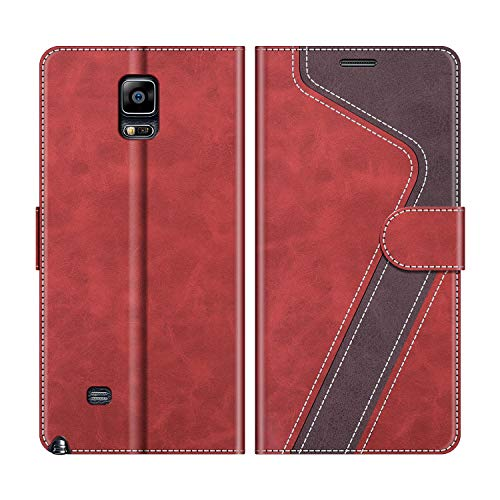 MOBESV Samsung Galaxy Note 4 Hülle Leder, Galaxy Note 4 Tasche Lederhülle Wallet Case Ledertasche Handyhülle Schutzhülle für Samsung Galaxy Note 4, Modisch Rot