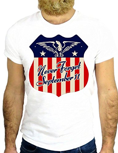 T SHIRT JODE Z1305 NEVER FORGET 11 SEPTEMBER TWIN TOWERS NEW YORK AMERICA GGG24 BIANCA - WHITE S