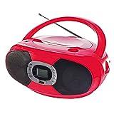 Stereo-Radio Ghettoblaster tragbar Stereoanlage Stereo CD-Player USB MP3 Tragegriff (USB-Port, MP3 Fähig, Tragbar, AUX-IN, PLL Radio, Rot)