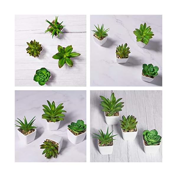 YHmall 4pcs Plantas Artificiales Decoracion Exterior de Suculentas con Macetas Plásticas de Interior y Exterior para…
