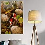 Danjiao Chinois Koi Poissons Lotus Pierre Impressions Sur Toile Feng Shui Animal Paysage Peinture Mur Art Photo Pour Salon Moder Décoration Chambre À Coucher 40x60cm...
