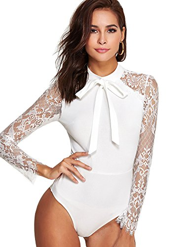 DIDK Damen Elegant Langarm Body mit Spitze Ärmeln und Schleife Bodysuit Weiß M