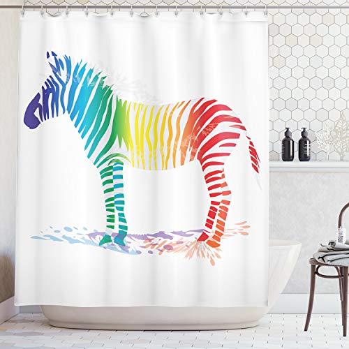 ng, Zebra mit Vielen Verschiedene Regenbogen Farben Streifen Bunter Schatten Muster Digital Druck, Blickdicht aus Stoff mit 12 Ringen Waschbar Langhaltig Hochwertig, 175 X 200 cm ()