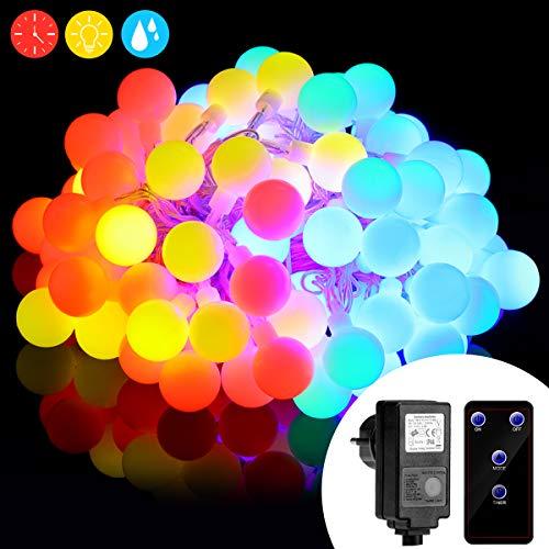 10M RGB led Lichterkette with 100er LEDs, 8 Lichtermodi mit Merkfunktion, RGB, Innen-und Außen Lichterkette glühbirne, Fernbedienung, Weihnachtsbeleuchtung für, Halloween, Hochzeit, Party