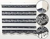 Brillant Gardinen Duo-Rollo/Doppelrollo Black & White Zebra Perde mit Perlen,Klemm Fix Rollo (028) (Schwarz/Silber, 60 x 200 cm)