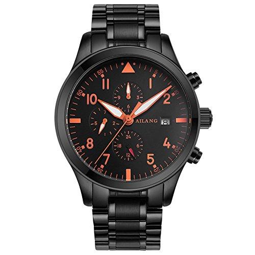 ailang Wasserdichte Sport Military Automatische schwarz Edelstahl Armbanduhr Herren mit Tag Datum