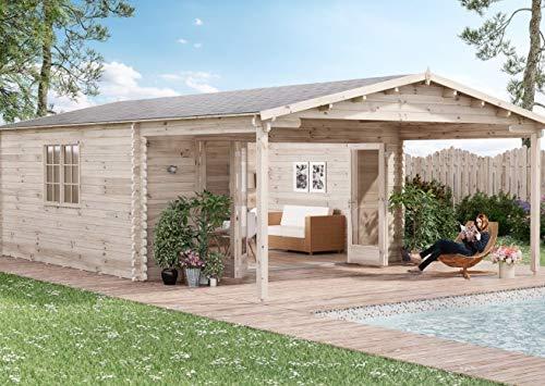 Alpholz Gartenhaus Nyborg-44 - Blockhaus mit 4-TLG. Falttür - Massivholz Gartenhütte mit Fenster & Isolierverglasung - Garten Blockhütte ohne Imprägnierung