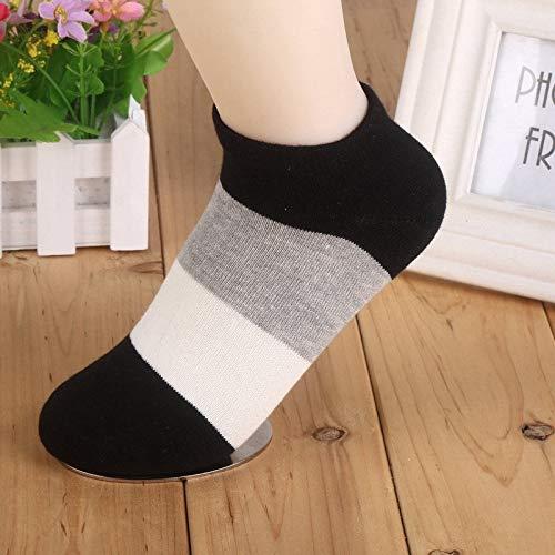 Alvndarling 5 Paar Kurze Socken Frauensocken Baumwolle breit gestreift lässig Socken atmungsaktiv Deodorant Kurze Röhre Frauensocken Mode lässig Bootssocken (Farbe : A, größe : 2-5.5 UK/34-40 EU) (Socken Rohr Gestreiften)