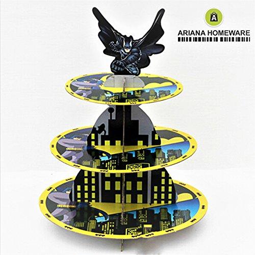 ARIANA-Cardboard-Cupcake-Stand-3-Tier-Round-Tower-in-4-COLOURS-Batman-Superhero