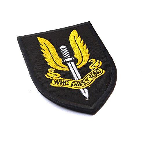 Airsoft sas patch swat nero ricamato tattico militare esercito morale badge toppe da cucire sul tappo per borsa giacche