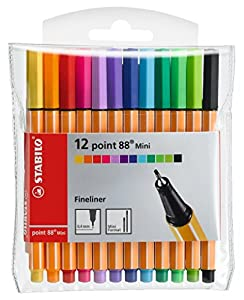 Rotulador puntafina STABILO point 88 mini - Estuche con 12 colores