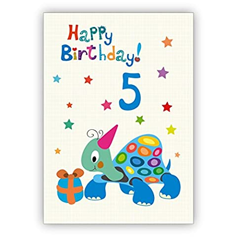 Toller Kinder Glückwunsch als Geburtstagskarte zum 5. Geburtstag mit Schildkröte: Happy Birthday (Weihnachten Nachrichten Für Den Chef)