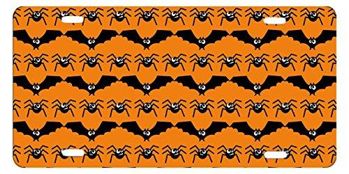 DQVWGK Fledermäuse und Spinnen Halloween Custom Aluminium License Plate Frames für Auto License Plate Cover mit 4Löchern Auto-Tag 15,2x 30,5cm