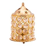 #7: Home n More Brass Designer Akhand Pooja Diya l 3 Piece Set- 1 Brass Jyot Diya, 1 Brass and Glass Cover and 1 Brass Lid l Gold Finish l Auspicious Puja Item l Height : 4 inch