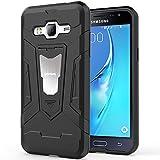 HOOMIL Schwarz Armor Samsung Galaxy J3 (2016) Duos Hülle Stoßfest Handyhülle Silikon TPU Bumper Cover mit Ständer Schutzhülle Case - Black (H3226)