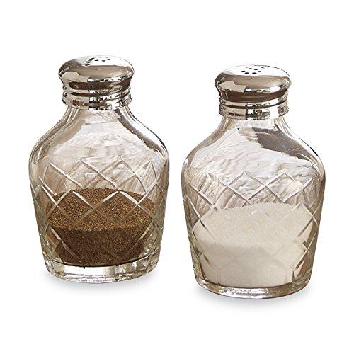 Loberon Salz- und Pfefferstreuer Alixan, Glas/vernickelter Stahl, H/Ø ca. 11/7 cm, klar/silber