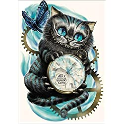 DIY 5d Diamond pintura por número Kit, 5D diamond painting full drill,Cat reloj Crystal Rhinestone bordado de punto de cruz artes manualidades lienzo pared decoración,Gato y reloj