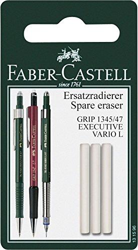 Faber-Castell 131596 - Ersatzradierer für Druckbleistift Grip 1345 / 1347, 3 Stück