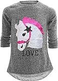 Einhorn Unicorn Pferd Mädchen Kinder Sweatshirt Pullover Wendepailletten Glitzer Bluse Langshirt Pulli (140-146, Pferd Grau)