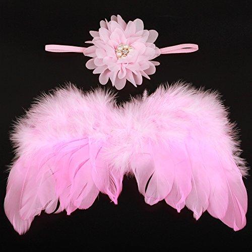 UGUAX Baby Foto Requisite Kostüm Feder Engel Flügel Strass Stirnband Set Neugeborene Blume Stirnband, Rose, - Flügel Set Kostüm Kit