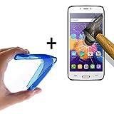 WoowCase - Flexible Gel Schutzhülle für [ Doogee Y200] [ +1 Schutzglas ] Hartglas, Hülle Case TPU Silikon in Blau