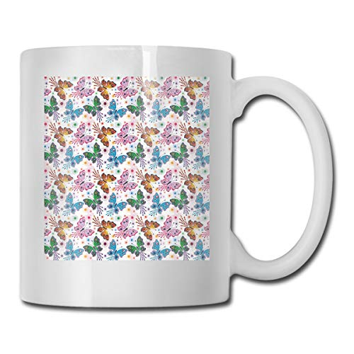 Funny Ceramic Novelty Coffee Mug 11oz,Floral Arrangement with Vibrant Colored Butterflies with Ethnic Design Elements,Unisex Who Tea Mugs Coffee Cups,Suitable for Office and Home Butterfly Demitasse