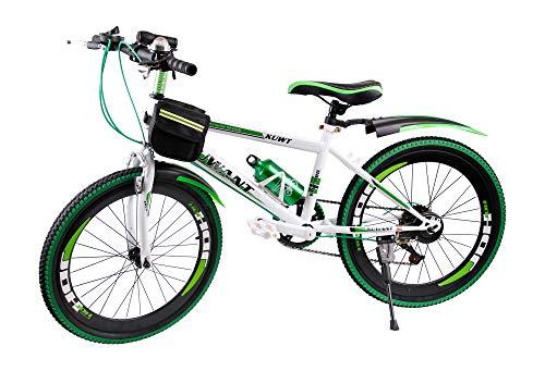 Mediablue Kuwant Grün Fahrräder Unisex Jungen Kinderfahrrad Mountain Bike 7-Gang MTB Bike (Grün, 20 Zoll)
