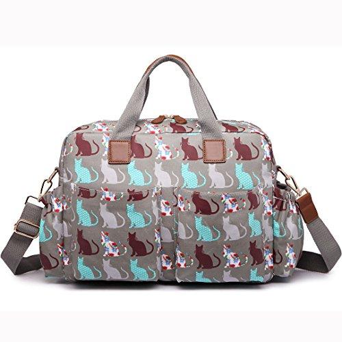 Miss Lulu Multifuntional Baby Windel Windel Wickeltasche Tote Taschen Große Kapazität Wasserdicht Mama Schwangerschafts Handtaschen grau