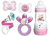 MAM Starter Set - Air Schnuller 0-6 Monate, Anti Colic Flasche 260ml, Fashion Clip & Cooler für Mädchen
